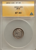 Bust Dimes: , 1832 10C XF40 ANACS. JR-6. NGC Census: (6/238). PCGS Population(20/250). Mintage: 522,500. Numismedia Wsl. Price for prob...