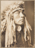 "Photography, Edward S. Curtis, Photographer. Rare, Possibly Unique Vintage Platinum Print: Untitled - (Variant of ""Curley - A Crow"")...."