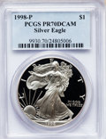 Modern Bullion Coins: , 1998-P $1 Silver Eagle PR70 Deep Cameo PCGS. PCGS Population (629).NGC Census: (998). Numismedia Wsl. Price for problem f...