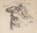 Paintings, DEAN CORNWELL (American, 1892-1960). The Stamping Process, study for General Motors mural, circa 1940. Charcoal pencil o...