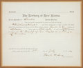 "Miscellaneous:Ephemera, Lincoln County, New Mexico: An 1882 Arrest Warrant for Murder of""Bill Johnson (Colored)"". ..."