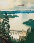 Mainstream Illustration, CARL G. EVERS (American , 1907-2000). Plane over BoulderDam. Watercolor and gouache on paper. 16.25 x 12.75 in..Signed...