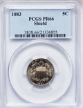 Proof Shield Nickels, 1883 5C PR66 PCGS. Ex: Shield. PCGS Population (193/21). NGCCensus: (223/45). Mintage: 5,419. Numismedia Wsl. Price for pr...