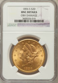 Liberty Double Eagles, 1896-S $20 -- Obv Damage -- NGC Details. UNC. NGC Census:(493/7220). PCGS Population (291/5057). Mintage: 1,403,925. N...