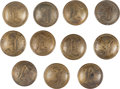 Military & Patriotic:Civil War, Group of Eleven Coat Size Confederate Infantry Script I Buttons - Isaacs Campbell & Co.... (Total: 11 Items)