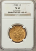 Indian Eagles: , 1913-S $10 AU50 NGC. NGC Census: (60/656). PCGS Population(62/437). Mintage: 66,000. Numismedia Wsl. Price for problem fre...