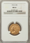 Indian Half Eagles: , 1916-S $5 MS61 NGC. NGC Census: (355/491). PCGS Population(114/610). Mintage: 240,000. Numismedia Wsl. Price for problem f...