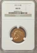 Indian Half Eagles: , 1911-S $5 AU55 NGC. NGC Census: (353/1625). PCGS Population(180/1060). Mintage: 1,416,000. Numismedia Wsl. Price for probl...