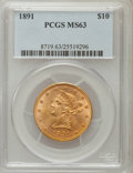 Liberty Eagles: , 1891 $10 MS63 PCGS. PCGS Population (44/3). NGC Census: (42/4).Mintage: 91,868. Numismedia Wsl. Price for problem free NGC...