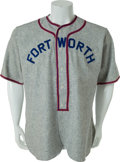 Baseball Collectibles:Uniforms, 1950's Jimmy Bragan Game Worn Ft. Worth Cats Jersey....