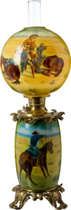 Antiques:Decorative Americana, Impressive Remington-Inspired Hand-Painted Lamp....