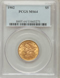Liberty Half Eagles: , 1902 $5 MS64 PCGS. PCGS Population (78/27). NGC Census: (124/25).Mintage: 172,400. Numismedia Wsl. Price for problem free ...
