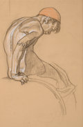 Mainstream Illustration, DEAN CORNWELL (American, 1892-1960). Study of a Boy, for Watermural. Pastel and charcoal pencil on paper. 23 x 15 in.. ...