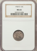 Barber Dimes: , 1908-D 10C MS65 NGC. NGC Census: (15/13). PCGS Population (16/12).Mintage: 7,490,000. Numismedia Wsl. Price for problem fr...
