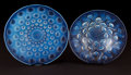 Art Glass:Lalique, A RENÉ LALIQUE GLASS ASTER PLATE AND BULBES COUPE .René Lalique, Wingen-sur-Moder, France, circa 19... (Total: 2Items)