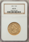 Liberty Eagles: , 1851 $10 AU53 NGC. NGC Census: (35/112). PCGS Population (6/19).Mintage: 176,328. Numismedia Wsl. Price for problem free N...