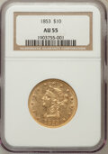 Liberty Eagles: , 1853 $10 AU55 NGC. NGC Census: (143/213). PCGS Population (36/52).Mintage: 201,253. Numismedia Wsl. Price for problem free...