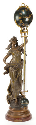 AN ANSONIA SPELTER SWING ARM CLOCK AFTER MOREAU: BRISE D'AUTOMNE Design after August Moreau