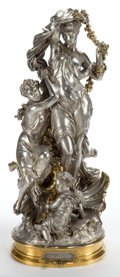 Bronze:European, AN EMILE HERBERT (FRENCH, 1828-1893) SILVERED AND GILT METALFIGURAL GROUP AFTER:CAPTIVES . Paris, France, circa 190...