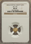 California Fractional Gold, 1855/4 25C Liberty Octagonal 25 Cents, BG-106, R.3, MS66 NGC....