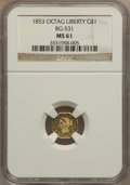 California Fractional Gold, 1853 $1 Liberty Octagonal 1 Dollar, BG-531, R.4, MS61 NGC....
