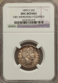 Barber Quarters: , 1899-S 25C -- Obv Improperly Cleaned -- NGC Details. UNC. NGCCensus: (0/27). PCGS Population (0/33). Mintage: 708,000. Num...