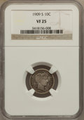 Barber Dimes: , 1909-S 10C VF25 NGC. NGC Census: (2/75). PCGS Population (3/91).Mintage: 1,000,000. Numismedia Wsl. Price for problem free...