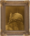 """Photography, Edward S. Curtis, Photographer. """"Signal to the Mountain God"""", a Rare Vintage Curtis Goldtone in Classic Original """"Batwing"""" Fra..."""