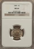 Shield Nickels: , 1869 5C MS64 NGC. NGC Census: (148/104). PCGS Population (140/67).Mintage: 16,395,000. Numismedia Wsl. Price for problem f...