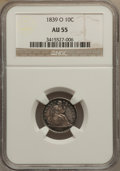 Seated Dimes: , 1839-O 10C No Drapery AU55 NGC. NGC Census: (7/51). PCGS Population(6/31). Mintage: 1,323,000. Numismedia Wsl. Price for p...