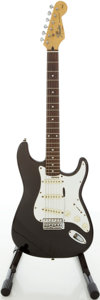 Musical Instruments:Electric Guitars, 1993 Squier by Fender Stratocaster Black Solid Body ElectricGuitar, #CN306870....