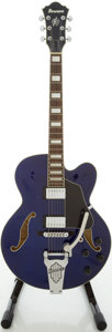 Musical Instruments:Electric Guitars, Ibanez AFS75T Trans Blue Semi-Hollow Body Electric Guitar,#S0401528....