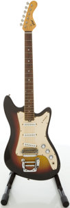 Musical Instruments:Electric Guitars, 1960's Vox Spitfire Sunburst Solid Body Electric Guitar,#254088....