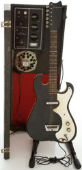 Musical Instruments:Electric Guitars, 1960's Silvertone 1448 Amp-in-Case Black Solid Body ElectricGuitar....