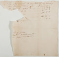 Autographs:Statesmen, [Eighteenth-Century Payroll]. Payroll Note (1777) about funds paidto workers (in textiles?). Poor....