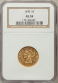Liberty Half Eagles: , 1848 $5 AU58 NGC. NGC Census: (121/41). PCGS Population (21/21).Mintage: 260,775. Numismedia Wsl. Price for problem free N...
