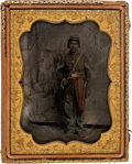 Photography:Tintypes, Civil War Quarter Plate Tintype Of Black Infantry NCO. ...