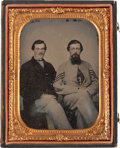 Military & Patriotic:Civil War, Exceptionally Nice Quarter Plate Ambrotype Portrait of Confederate Sergeant and Friend....