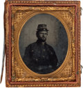 Photography:Tintypes, Sixth Plate Ferrotype Of Hard Looking Confederate Soldier....