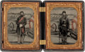 Photography:Tintypes, Two Absolutely Exquisite Quarter Plate Tintypes Of FederalInfantrymen In Double Thermoplastic Case....