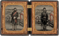 Two Absolutely Exquisite Quarter Plate Tintypes Of Federal Infantrymen In Double Thermoplastic Case