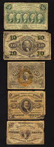 Fractional Currency:Group Lots, An Assortment of Five Fractional Notes. Very Good or Better.. ... (Total: 5 notes)