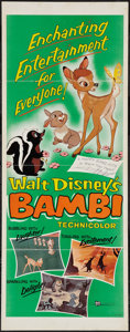 "Movie Posters:Animation, Bambi (Buena Vista, R-1957). Insert (14"" X 36""). Animation.. ..."