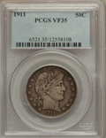 Barber Half Dollars: , 1911 50C VF35 PCGS. PCGS Population (9/379). NGC Census: (2/252).Mintage: 1,406,543. Numismedia Wsl. Price for problem fre...