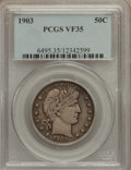 Barber Half Dollars: , 1903 50C VF35 PCGS. PCGS Population (6/141). NGC Census: (3/74).Mintage: 2,278,755. Numismedia Wsl. Price for problem free...