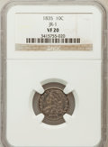 Bust Dimes, 1835 10C VF20 NGC. JR-1. NGC Census: (5/441). PCGS Population(18/495). Mintage: 1,410,000. Numismedia Wsl. Price for probl...