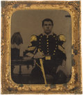Photography:Tintypes, Very Nice Pre War Sixth Plate Tintype Of An American MilitiaSergeant....
