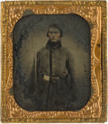 Photography:Ambrotypes, Armed Sixth Plate Confederate Ambrotype....