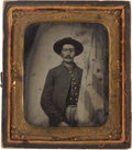 Photography:Ambrotypes, Sixth Plate Ambrotype Of Federal Infantryman Standing Next To American Flag....