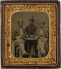 Photography:Tintypes, C. 1875 Sixth Plate Tintype Of Three Oddly Uniformed SoldiersPlaying Cards....
